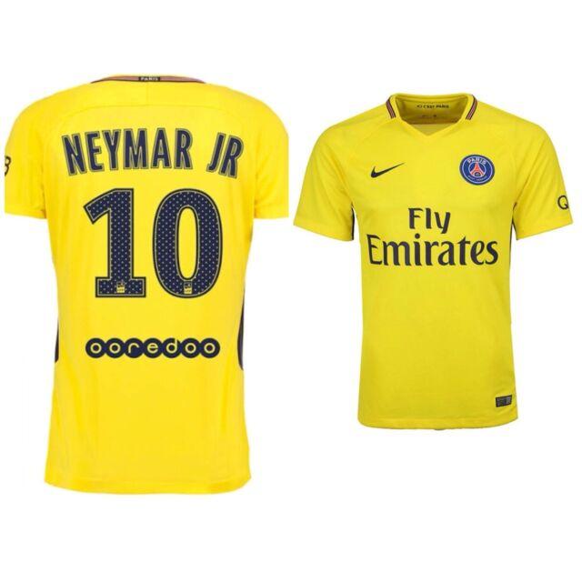 NIKE Mens XL Emirates Paris Saint Germain NEYMAR JR 10 Jersey Yellow Away DriFit