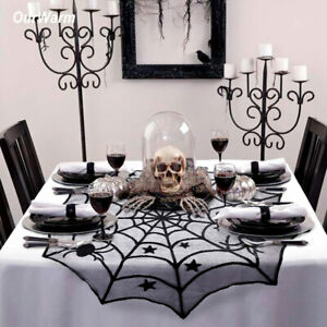 Black-Lace-Spiderweb-Table-Topper-Table-Cloth-Cover-Window-Horror-Halloween-Deco