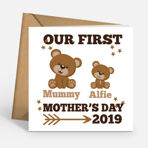 Personalised Our First Mother/'s Day 2019 Teddy Bears Mom Happy Mothers Day Card