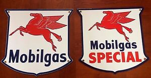 Details about classic MOBIL GAS \SPECIAL set of 2 - heavy DUTY 18 gauge  steel porcelain signs