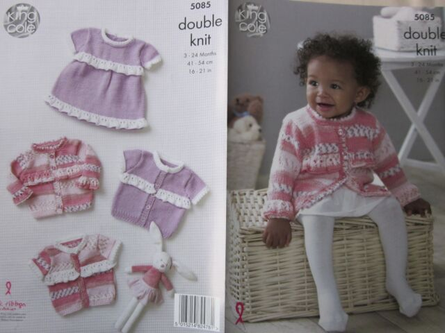 cd1a4a7f6 King Cole DK Knitting Pattern 5085 Frilled Dress   Cardigans
