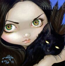 Faces of Faery 66 Jasmine Becket-Griffith art CANVAS PRINT black cat big eye pet