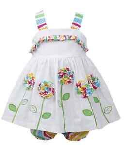 NWT Bonnie Baby Girls Newborn Flower White Summer Dress 0