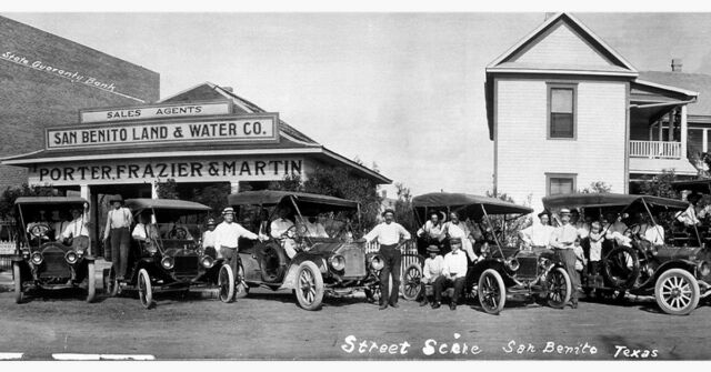 "1911 San Benito, TX Vintage Panoramic Photograph Street Scene 39"" Long Panorama"