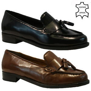 womens ladies real leather flat casual office work fringe