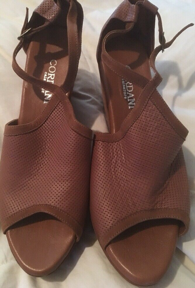 New NWOT Cordani Calzature BROWN LEATHER WEDGE SHOES EU40/US 9