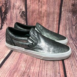 Vans-Men-039-s-Silver-Black-Metallic-Slip-On-Skate-Board-Sneaker-Shoes-Size-8