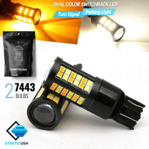 2x 7443/7440 Dual Color Switchback White/Amber 64-LED Turn Signal Parking Bulbs