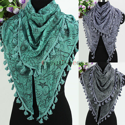 Fashion Stars Lines Print Tassel Fringe Comfy Cotton Gauze Shawl Triangle Scarf