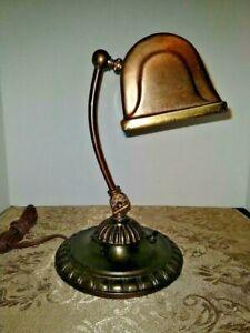 VINTAGE ART DÉCO ARTS & CRAFT Baroque tout en métal du banquier/Lecture Lampe 1900-1940
