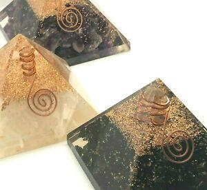 EXTRA-LARGE-Black-Tourmaline-Amethyst-Selenite-Orgone-Crystal-Pyramids-US-SELLER