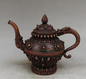 Китай нежный старый красный медный ручной резной дракон чайник