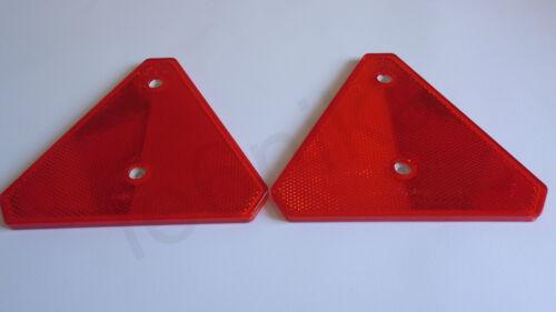 "2x Universal Red Triangular Reflex Reflector Reflective 6/"" x 5/"" E20 Trailer etc"