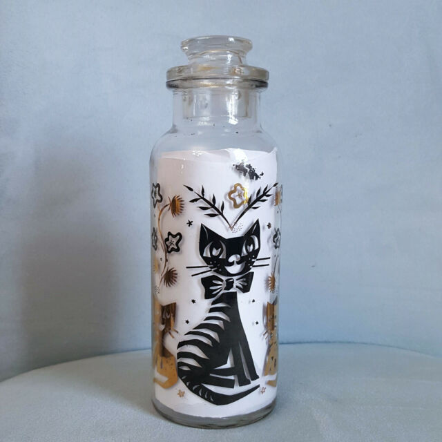 Vintage MCM Retro Gold & Black Cats Apothecary Bottle Jar Canister Decanter