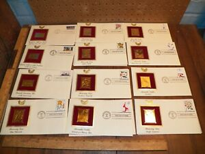 Vintage-Lot-Of-12-Golden-Replicas-of-United-States-Stamps-22k-Gold-Plated