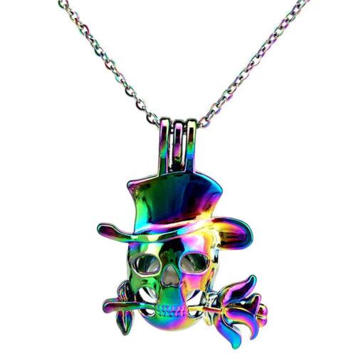 """C848 rainbow colorful Pendentif Crâne Fleur Perle cage Collier 18/"""""""
