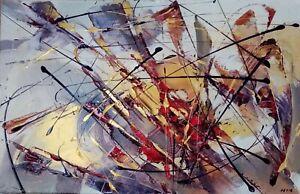 Tableau-art-contemporain-abstrait-034-Tache-et-tiret-48-034-acrylique-sur-toile