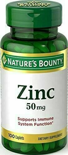 Nature's Bounty Zinc 50 mg Caplets 100 Support Immune System Function Exp 12/24