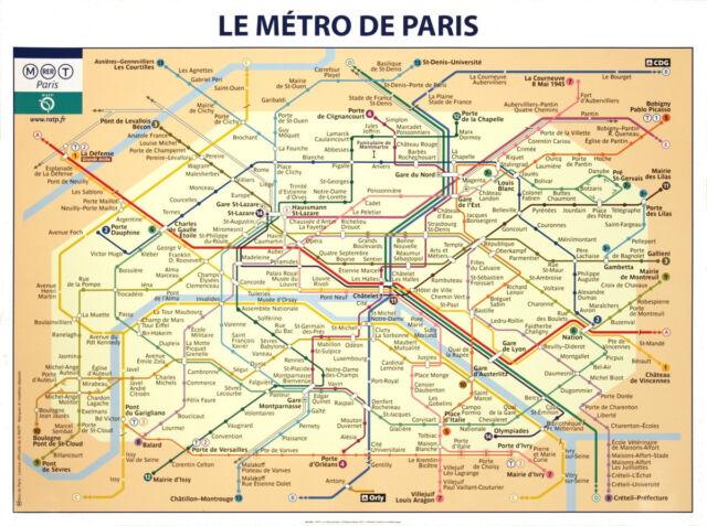Paris Metro Subway Map.Paris Subway Map Art Print Le Metro De Paris By Ratp French France Poster 24x32