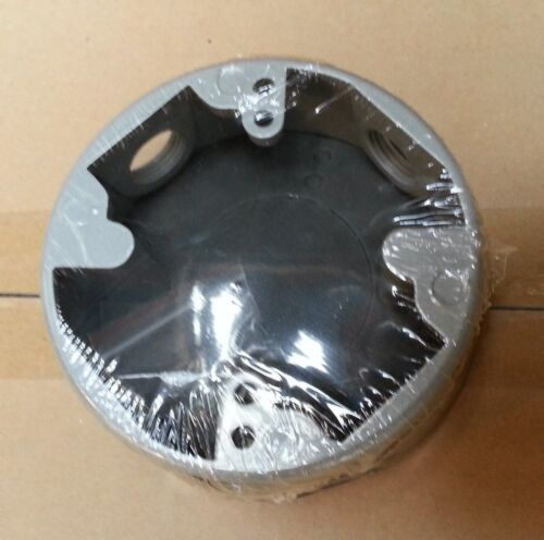 """Weatherproof 4/"""" Round Metal Extension Ring 4 Four 3//4/"""" Holes GRAY Outdoor Box"""
