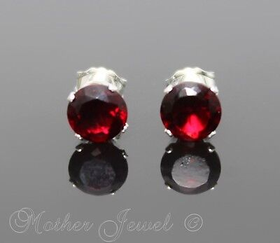 5mm REAL SOLID 925 STERLING SILVER Garnet Red CZ Womens Mens Earrings Studs