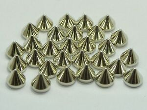 Craft DIY Silver Gold Tone Metallic Acrylic Flatback Punk Spike Studs No Hole
