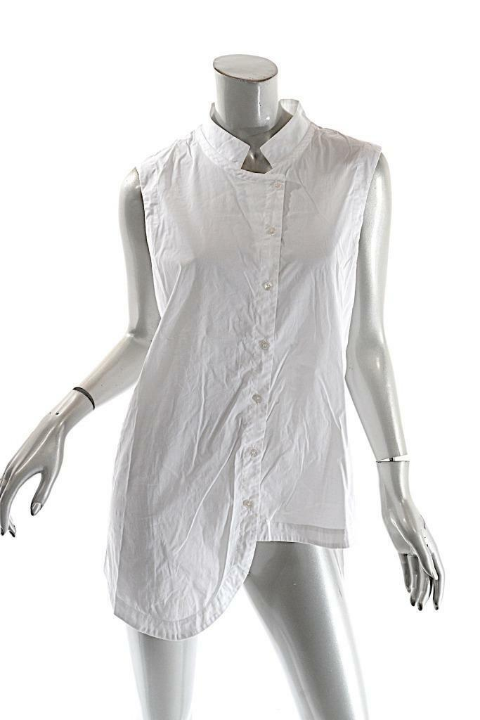 BLANQUE Weiß Cotton Blend Asymmetric Sleeveless Blouse  Nice Stretch  Sz OS