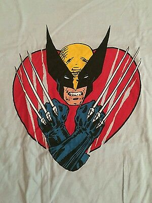 MEDIUM Wolverine Claw At My Heart Marvel Comics Licensed Women's T-shirt X-Men