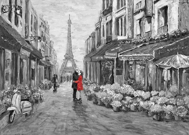 James Zheng  Romance in rot Keilrahmen-Bild Leinwand Paris Paar Eiffelturm Idyll