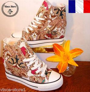 Converse Chaussure Basket Femme Fleurs Form Montante Toile Sneaker Oqv4wXqA