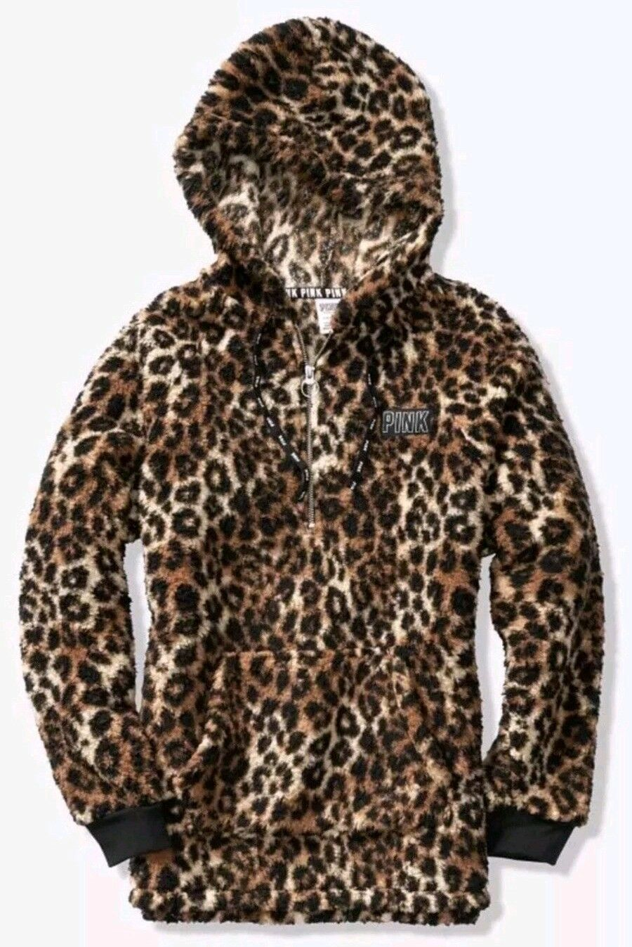 NWT Victoria's Secret PINK Cozy Sherpa Quarter Zip Hoodie Leopard M MEDIUM