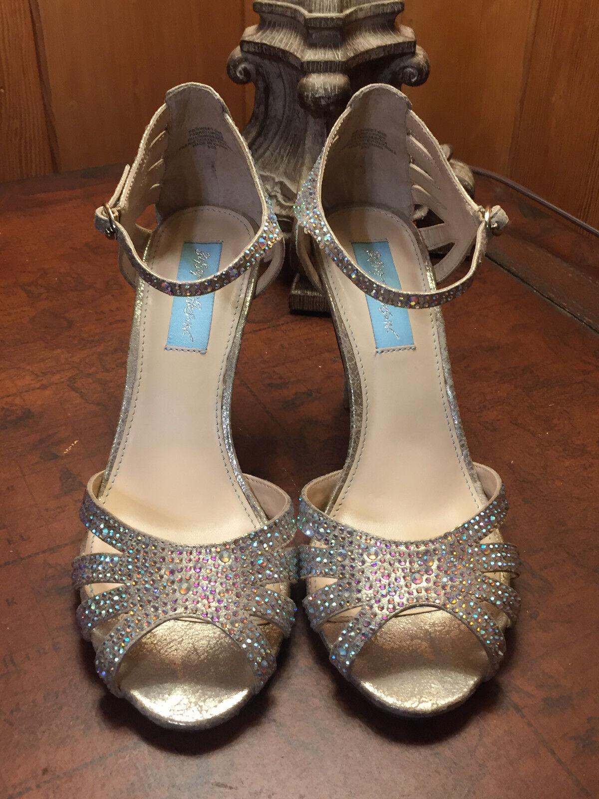 Blau by Betsey Johnson Johnson Johnson Sweet Rhinestone Embellished Evening Open Toe Sandals 6.5 fec8a0