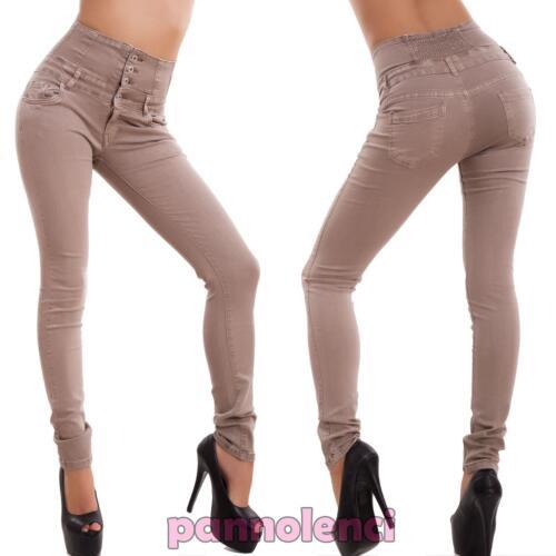 Jeans donna pantaloni vita alta skinny slim sigaretta elasticizzati nuovi M3726