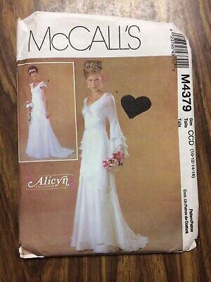 Mccalls M4379 Alicyn Wedding Gown Dress Pattern Form Fitting 10 12 14 16 Uncut 23795437929 Ebay