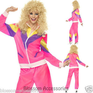 Cl407 Womens 80s Height Fashion Scouser Tracksuit Shell Suit Costume