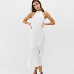 on sale 790a5 16314 Dettagli su Elegante comodo vestito lungo abito bianco chiaro estivo fiocco  4436