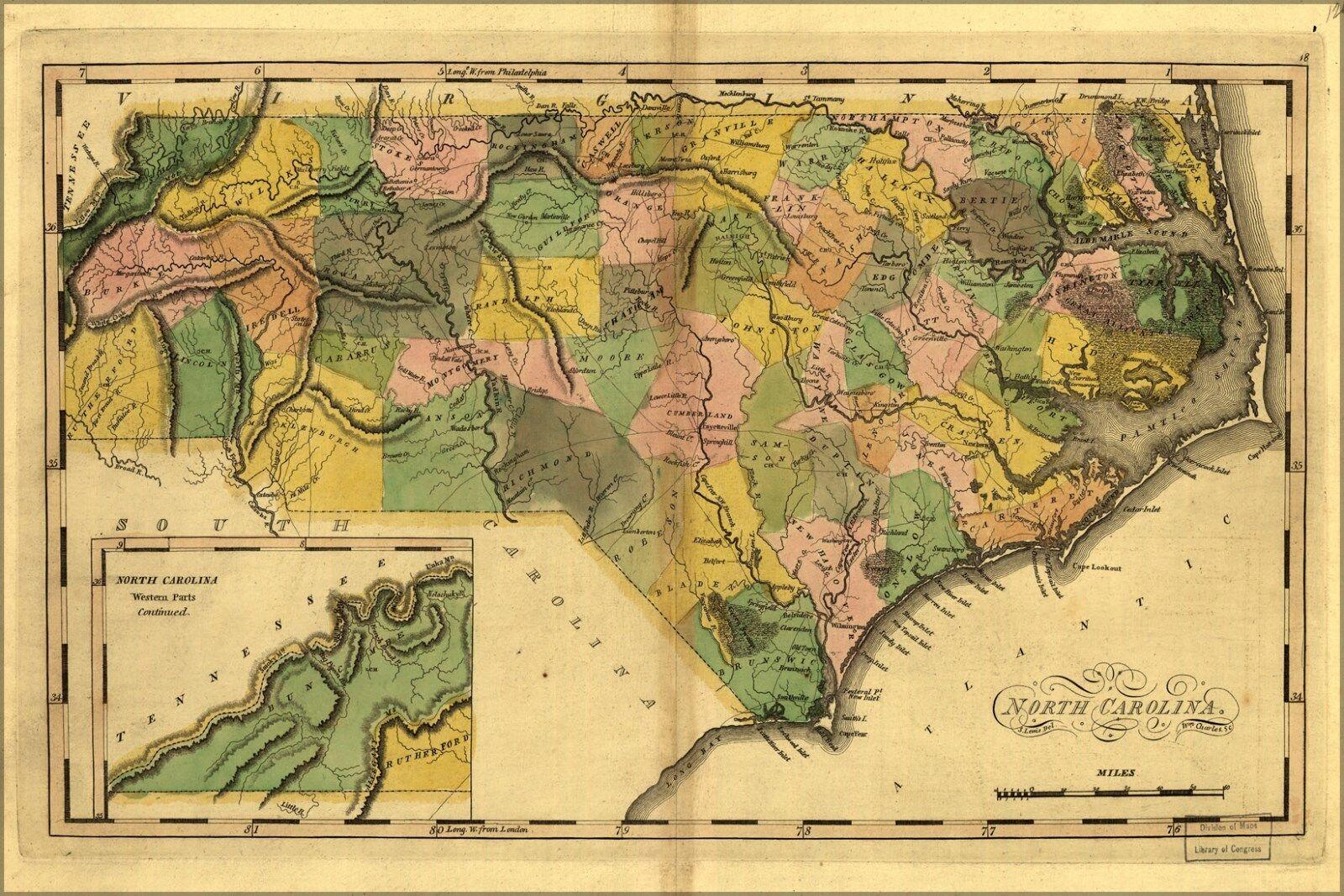 Plakat, Viele Größen; Karte von Nord Carolina 1814