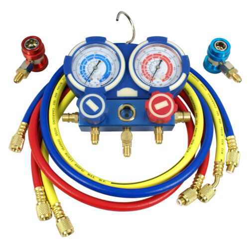 Manifold Vacuum Gauge Set 3 Way R134a R410a R22 A//C AC HVAC Refrigeration KIT
