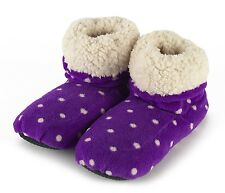 Intelex Sherpa Microwavable Purple Boots Slippers Heatable Soft Bed Feet Warmer