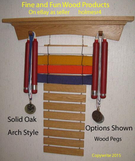 F  F Wood Products Martial Arts Trophy Shelf and Martial Arts Rank Belt Display