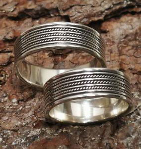 Edler trendiger Bandring 925 Silber Breite 6,4mm Größen 55-71