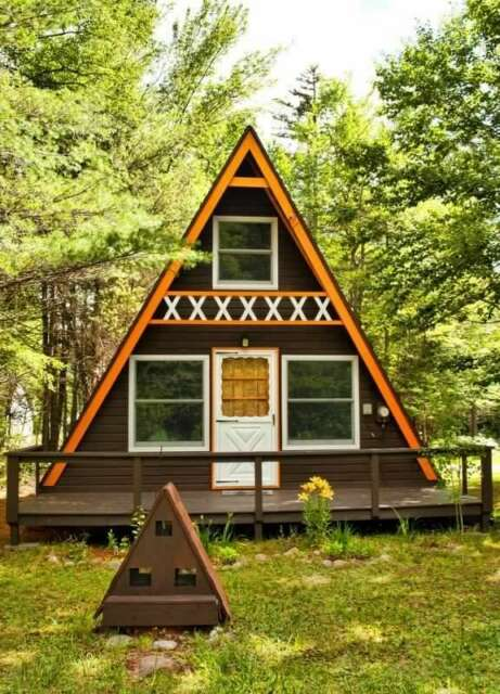 A Frame wood Cabin Plan 23' x 26' Two Story Timber 854Sq Vacation ...