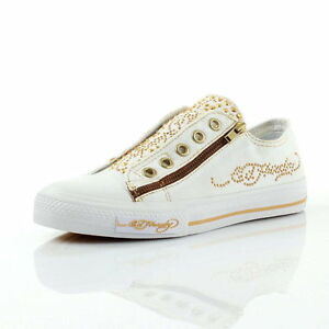 New-Ed-Hardy-King-Of-Pop-White-Kids-Diamond-Pumps-Trainers-UK-1-5-2-5