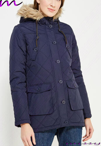 NEW Womens LADIES PARKA JACKET Quilted Sleeves WINTER COAT FISHTAIL Size 8-16 CH
