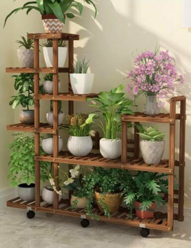 Premium Wooden Plant Stand Indoor Outdoor Garden Planter With Or Without Wheels