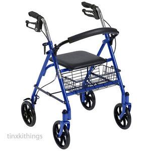 Medical Adult Rollator Walker Portable Folding Chair Seat