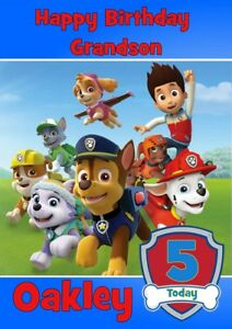 PAW PATROL SKYE PERSONALISED BIRTHDAY CARD ANY NAME AGE RELATION