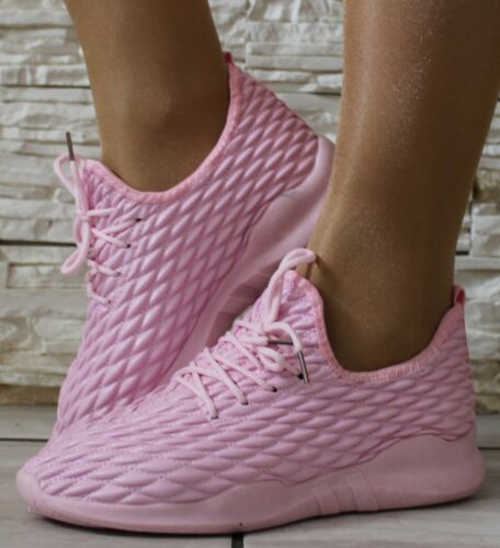 Ladies Pink Walking Running Sports Gym Fitness Memory Foam Trainers Shoes Sizes