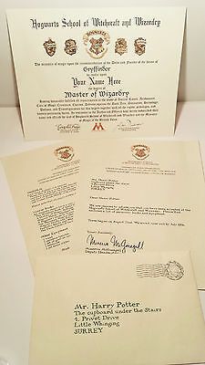 Harry Potter Hogwarts Diploma & Acceptance Letters - Personalized!