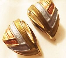 TRICOLOR CLASSIC GOLD PLATED CHIC CRESCENT SHAPED Pierced Earrings New Free Ship